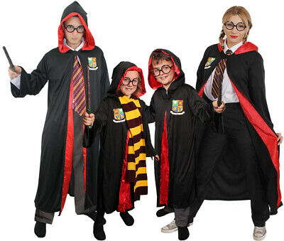 Wizard Costume Adult Child Halloween Fancy Dress Optional Glasses And Wand