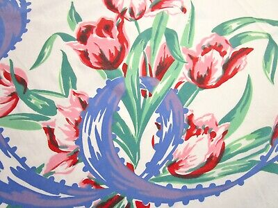 Vintage Tablecloth Huge Tuliips Blue Ribbon Red Pink 40S 50S Print 44X53