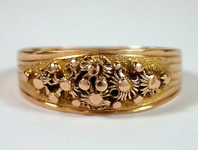 RARE Antique Victorian SOLID 15k Rose & Yellow Dot & Swirl Flower Gold Band Ring