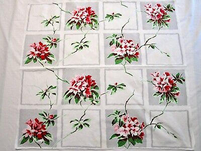 Vintage Tablecloth Wilendur Rhododendron Red Pink Green Gray Print Runner 32X35