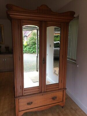Vintage antique wardrobe double mirrors