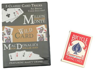Magic Makers Essential Gaffed Bicycle Deck&DVD 3 Classic Card Tricks Marty Grams