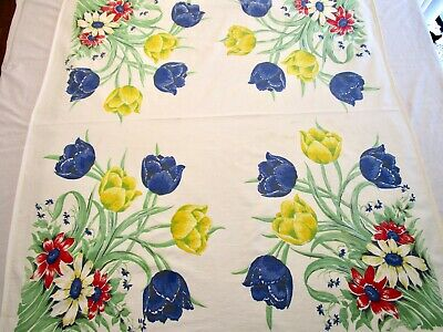 Vintage Tablecloth Huge Tulips Daisies Garden Print Blue Yellow Red 45X55