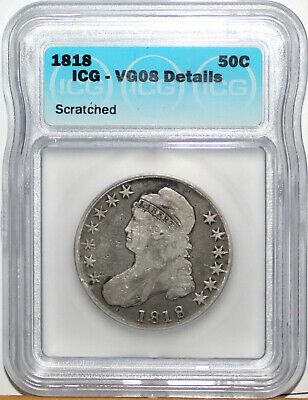1818 US Capped Bust Silver Half Dollar ICG VG08 Details