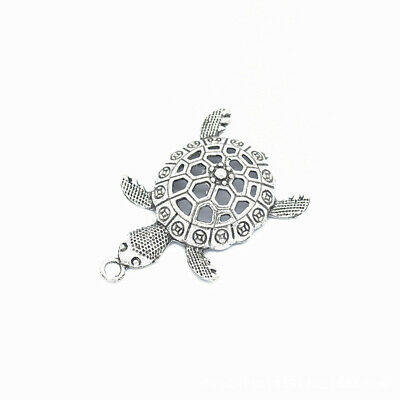 2pcs Turtle Charms Pendants Antique Silver Tone 55*38mm,Jewelry Making DIY