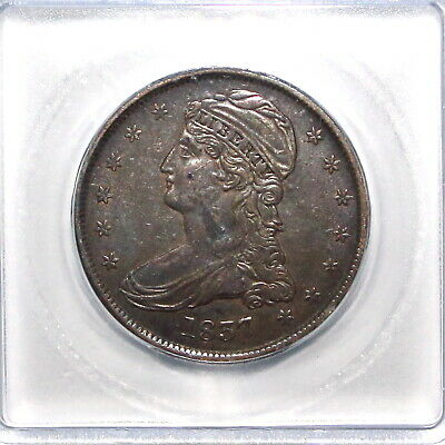 1837 US Capped Bust Silver Half Dollar Reeded Edge  ICG XF EF45 Details