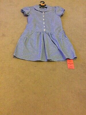 BNWT Girls Age 10-11 M&S Blue  Mix Checked (2 Pack) Short Sleeve School Dresses