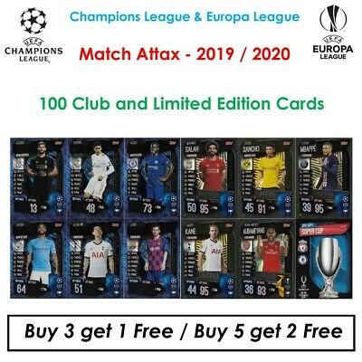 Match Attax 2019 - 2020: 100 Club, Limited Editions, MOTM, MVPS, Club Leg (UK)