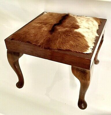 Antique Taxidermy Ibex Fur topped poofe pouffe footstool stool hide pelt fur