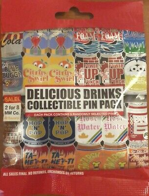 Disney Collectible Pin Pack DELICIOUS DRINKS Mystery Bag 5 Pins Sealed in Canada
