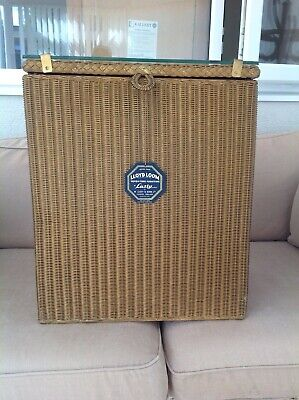 Lloyd Loom Lusty Gold  Laundry Basket With Glass Top  Vintage New Old Stock