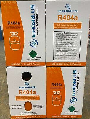 (4) R404a, R404, R-404, 404a Refrigerant *7.5lb* Factory Sealed and Full