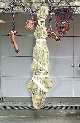 "Halloween Creepy Scary 70"" Hanging Skeleton Corpse In Spider Web Yard Decor Prop"