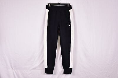 Women's Puma French Terry Contrast Track Pants Jogger Sweatpants, Black & White