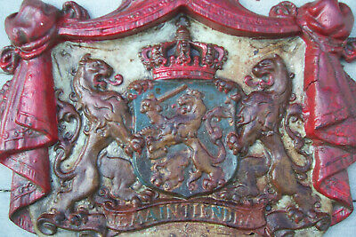 Antique Cast Iron Netherlands Coat Of Arms