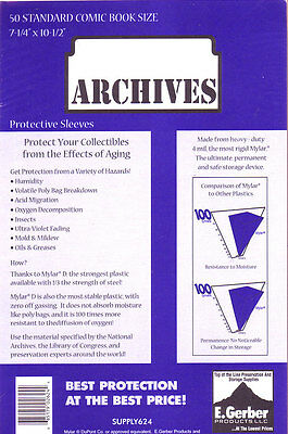 """250 STANDARD MYLAR # 725R Comic Book Sleeves 4 MIL THICK GERBER ARCHIVES 7+1/4"""""""
