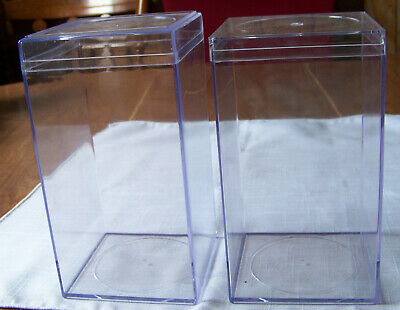 2 Clear Plastic rectangular display cases for collectibles beanies cars dolls