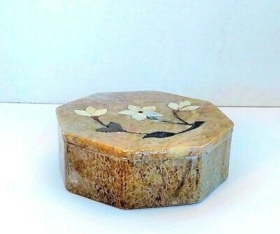 Stone Trinket Box Octagon Shaped Mother of Pearl Inlay Design Lid Dresser Decor