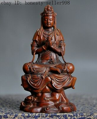 Old Chinese Buddhism Boxwood wood Hand Carving Goddess kwan-yin Guanyin Statue