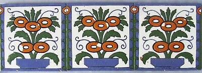 3 Trent Antique Tiles Hand Painted Flower Border Panel Vintage Ceramic Border