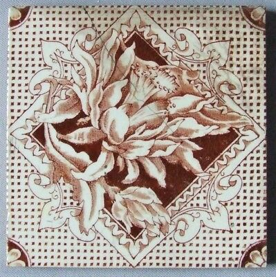 Antique Tile Cactus Flower T R Boote English Victorian Pottery Transferware