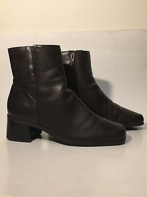 "WOMENs MADELINE STUART ""FORWARD"" ANKLE HIGH LEATHER ZIPPER BOOTS DARK BROWN 7.5M"