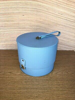 "Everbest ~ Vtg Wig Blue Case Vinyl Carry Hat Head Double 10"" Travel Box Round"