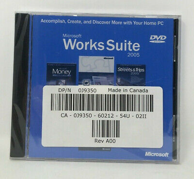 DELL OEM Microsoft Works Suite 2005 Sealed Money Word Encarta Streets & Trips