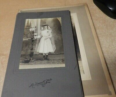 Lot Of 4 Antique 1900S Cabinet Card Photo Religious First Communion Girl Ornate