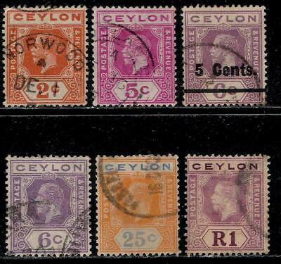 British Colony CEYLON 1912 - 1923 Old Stamps - King George V