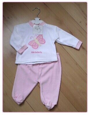 NEW Baby Girls Butterfly Outfit 6-12 Months Pink White Velour Trousers & Top Set