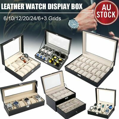 6/10/12/20/24 Grids Watch Jewelry Display Case PU Leather Storage Box Organize