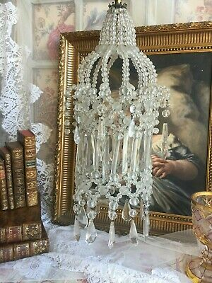 Sublime Antique French Boudoir Cage Chandelier Faceted Glass Droppper Pampille