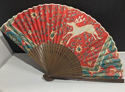 Antique Chinese Deer Silk on Wood Fan Late Qing Dynasty 19th to 20th Century