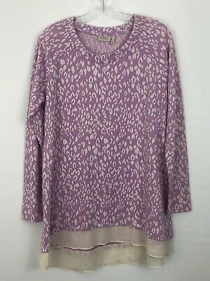 LOGO By Lori Goldstein Womens Tunic Top Size Medium Purple Long Sleeve Printed