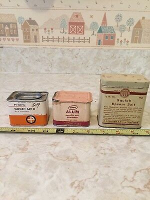 3 Different Vintage Tin Containers Squib Epsom Salt Purepac Alum & Boric Acid
