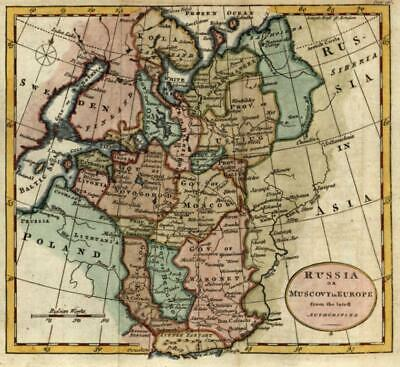 Russia Moscow Poland Moscovy 1792 by Kitchin very attractive small antique map
