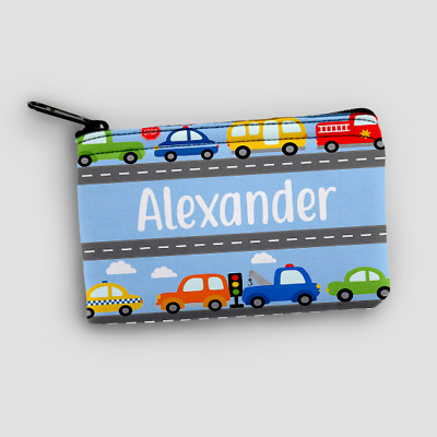 Personalised Cars Transport Kids Mini Money Wallet Zip Pouch Coin Purse Wallet
