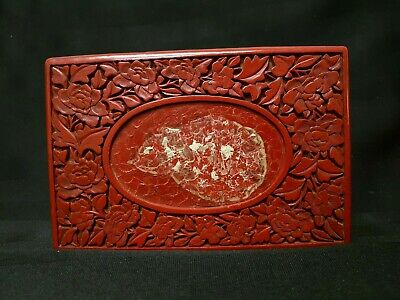 """Vintage Chinese Cinnabar Carved Floral 6"""" Lacquer Box"""