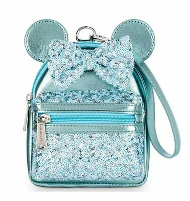 Disney Parks Frozen Arendelle Aqua Sequined Minnie Mouse Loungefly Wristlet NWT