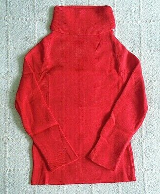 Vintage Polo-Neck Jumper - Age 7-9 Years Approx - Cherry Red - Acrylic - New