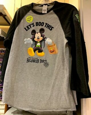 Disney Parks MNSSHP 2019 Mickey Mouse Let's Boo This Adult Long Shirt XL NWT