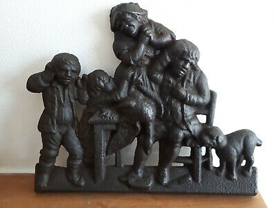 Victorian Antique Cast iron Family Scene Circa 1875