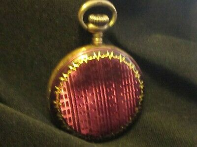 Antique Swiss Sterling Silver & Purple Enamel Small Size Pocket Watch Working