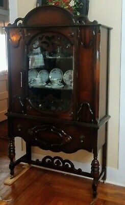 Vintage Walnut Art Deco China Hutch c1930s -LOCAL PICK UP ONLY