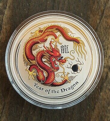 1 Oz Ounce SILVER  Onza PLATA AUSTRALIA LUNAR 2012 DRAGON COLOR DRACHE COLOURED