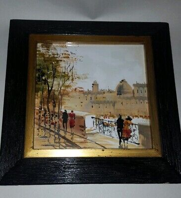 Framed Hand Painted Ceramic Tile