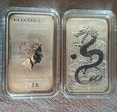 Coin 1 Oz SILVER  Onza PLATA AUSTRALIA 2018 DRAGON RECTANGULAR