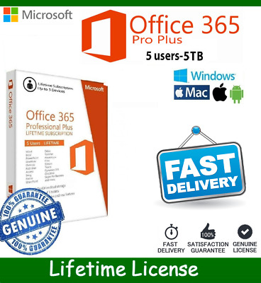 ✅Instant Microsoft Office 365 2016 2019 Pro Plus Lifetime 5 Devices 5TB PC/Mac