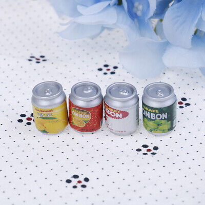 4Pcs 1:12 Dollhouse miniature drink cans doll house kitchen accessories BB